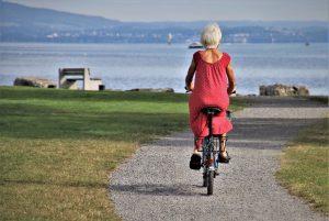 park, bike, senior