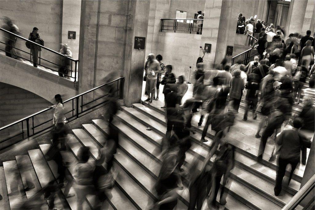 people, crowded, steps